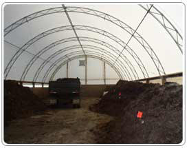 Inside composting building